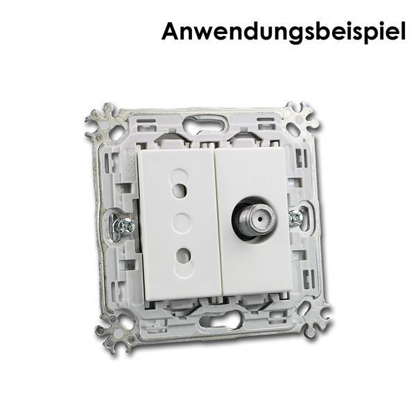 Montageträger mit 1M SAT-TV-Dose und 1M Euro-Steckdose kombinierbar
