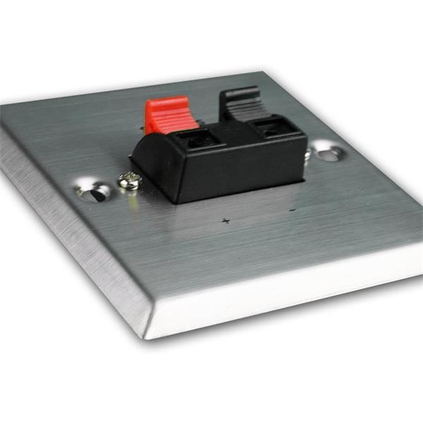 LS-Anschlussdose Edelstahl für Unterputzdose mit 2 Lautsprecher-Klemmen