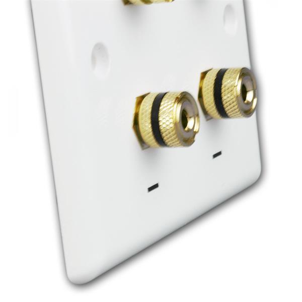 Lautsprecher-Blende für Unterputzdose mit 4 vergoldeten Anschlussbuchsen