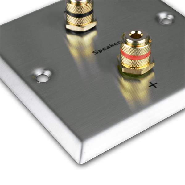 Lautsprecher-Blende Edelstahl für Unterputzdose mit 2 vergoldeten Anschlussbuchsen