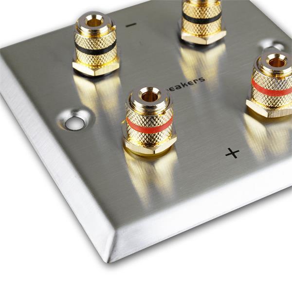 Lautsprecher-Blende Edelstahl für Unterputzdose mit 4 vergoldeten Anschlussbuchsen