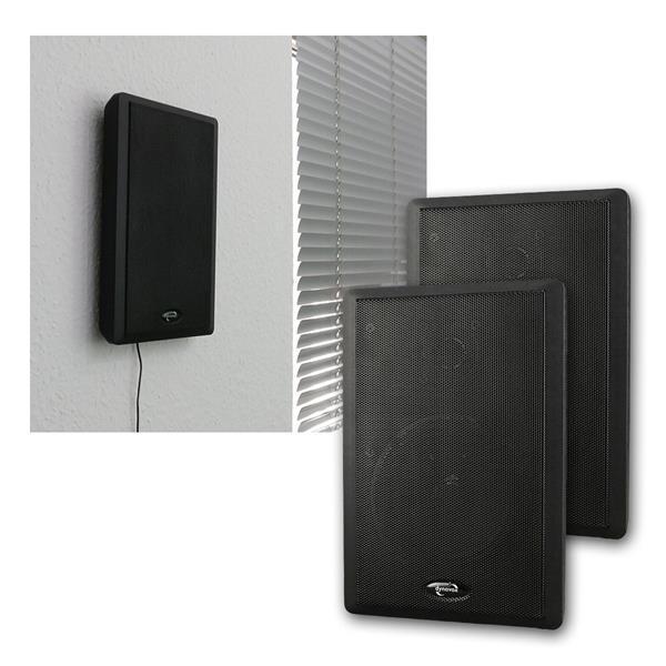 Flatpanel-Lautsprecher 40W schwarz 2-Wege Paar