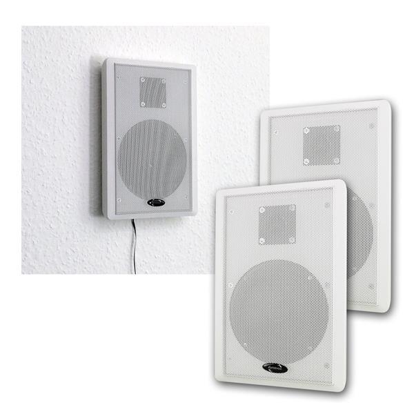 Flatpanel-Lautsprecher 40W weiß 2-Wege Paar