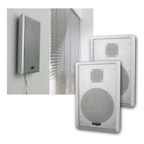 Flatpanel-Lautsprecher 40W silber 2-Wege Paar