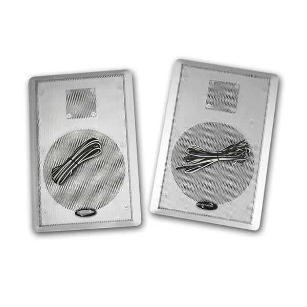 Regalllautsprecher silber flach  4 Ohm mit je 3,50m Lautsprecher-Kabel