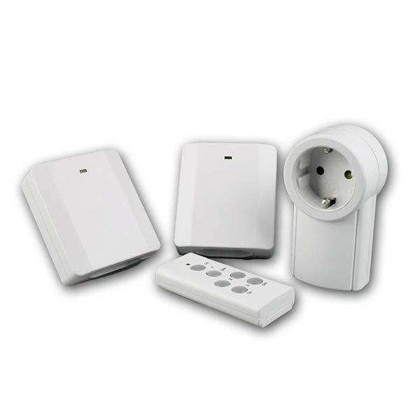 Funksteckdosen-Set Slim 3+1, weiß, 2300W max