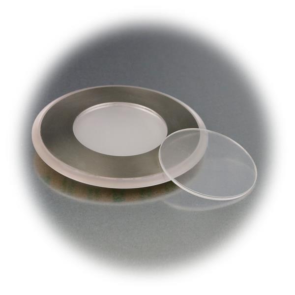 LED Leuchtmittel mit Edelstahl-Frontplatte ind er Leuchtfarbe blau
