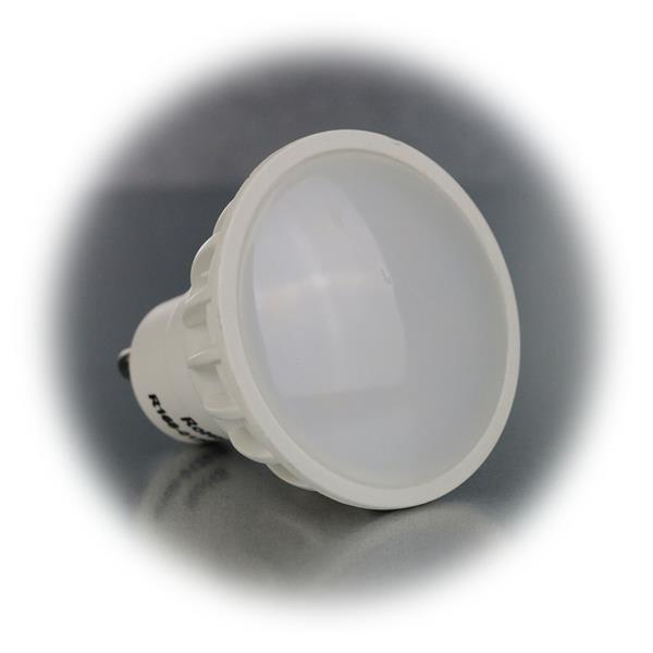 LED Strahler GU10 mit 14x SMD LEDs und satinierte Lichtaustrittsfläche für weniger Blendung