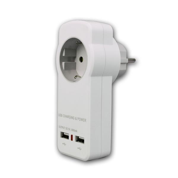 Schutzkontakt Adapter mit 2x USB Steckdose 5V/3A