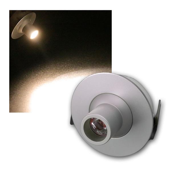 LED Einbauleuchte warmweiß 1W 350mA, silber Eloxie
