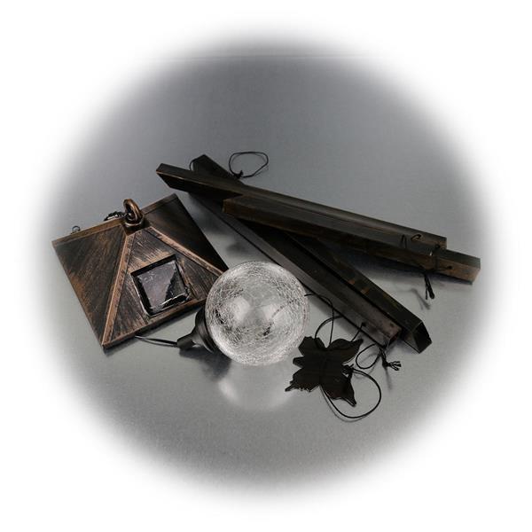 LED Solar Leuchte mit 4 Klangröhren und Glaskugel