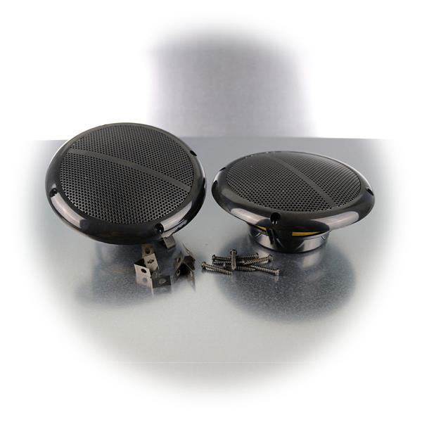 Zwei Outdoor Lautsprecher mit Schrauben und Clips