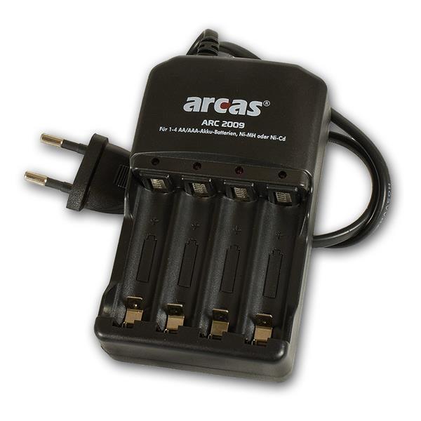 Akku Ladegerät ARCAS ARC-2009 für 4x AA & AAA