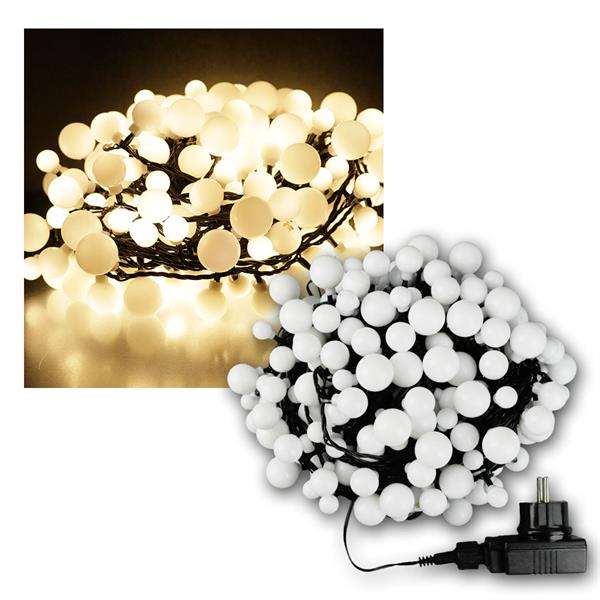 LED Lichterkette, 240 Kugeln warmweiß, IP44, 18m