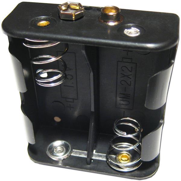 schwarzes Batteriegehäuse mit Platz für zwei UM2 Batterien