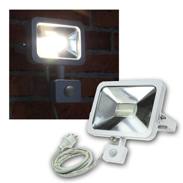 LED Fluter 30W Bewegungsmelder, Slim, weiß, 230V