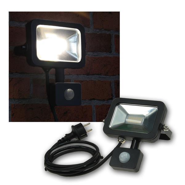 LED Fluter 10W Bewegungsmelder, Slim schwarz, 230V