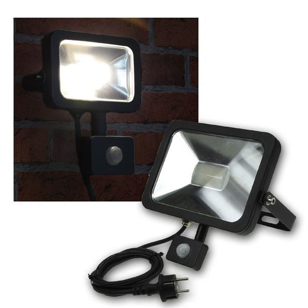 LED Fluter 30W Bewegungsmelder, Slim schwarz, 230V