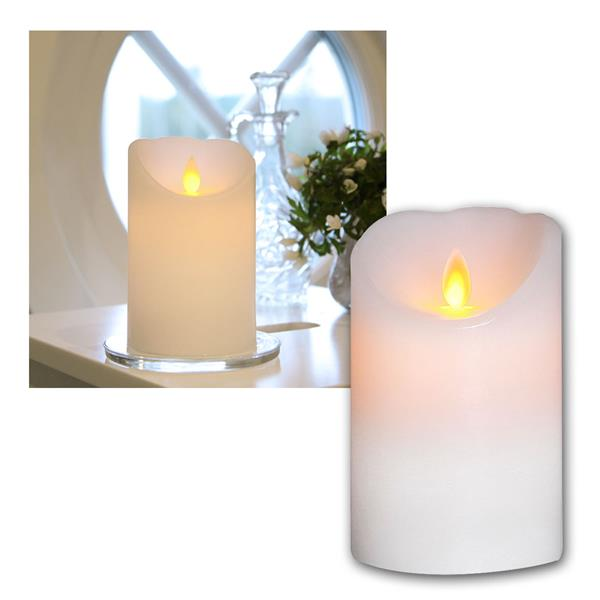 LED Echtwachskerze mit beweglicher Flamme Weiß