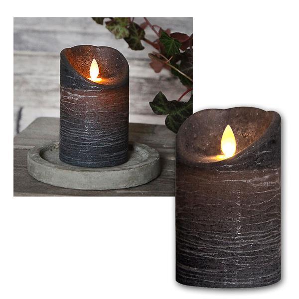 LED Echtwachskerze mit beweglicher Flamme Grau