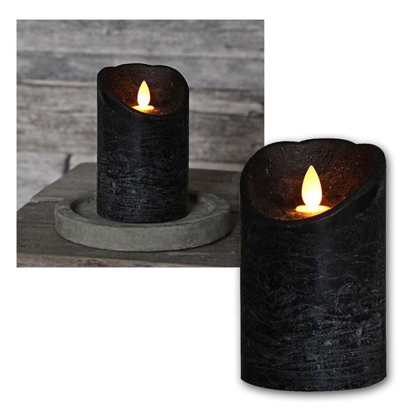 LED Echtwachskerze mit beweglicher Flamme Schwarz