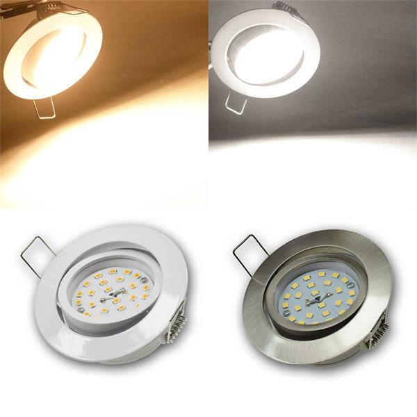 Komplett-Sets LED-Einbaustrahler mit Gehäuse in weiß  oder Edelstahl