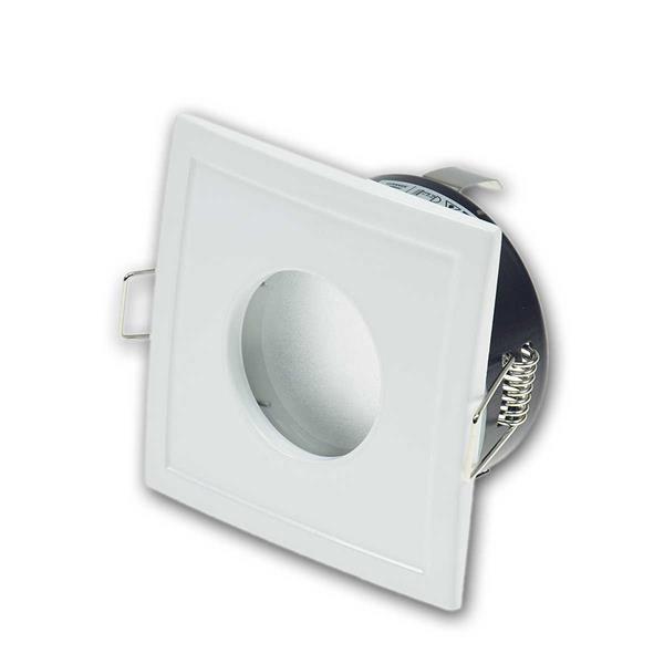 Einbauleuchte Weiß, eckig, GU10, IP44 Feuchtraum