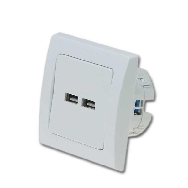 DELPHI USB Ladedose UP 2-fach, 5V=/2A, weiß