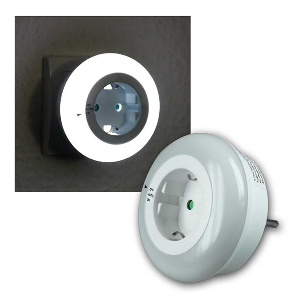 LED Nachtlicht mit Zwischenstecker, Dämmerungssensor