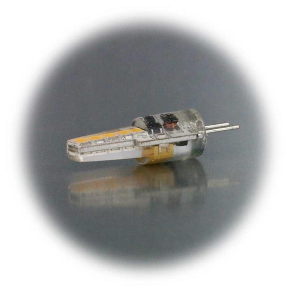 G4 Stiftsockel LED 12V mit dem Maß 10x38mm (ØxL) in Silikon gegossen