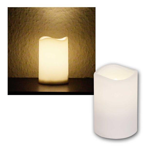 LED Außen Kerze weiß, 11,5cm / Ø7,5cm, mit Timer