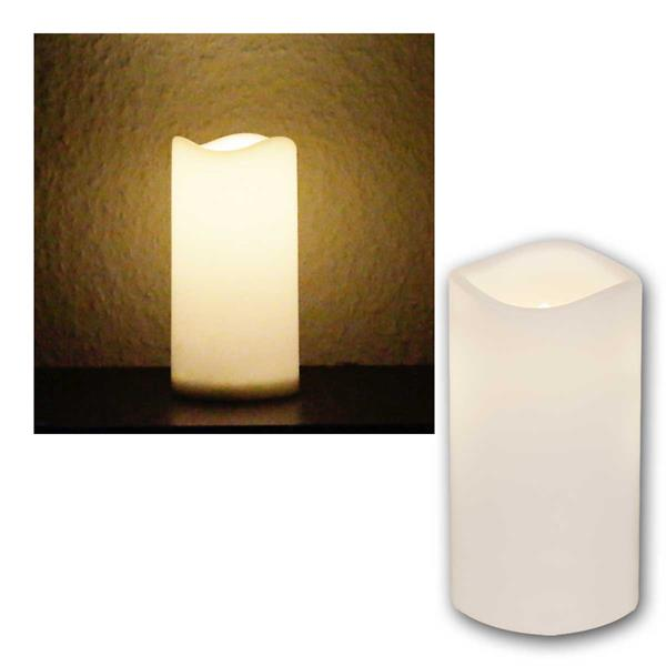LED Außen Kerze weiß, 15cm / Ø7,5cm, mit Timer