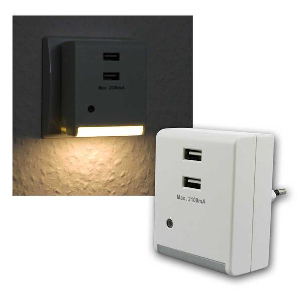 LED-Nachtlicht, Dämmerungssensor & USB Ladebuchsen