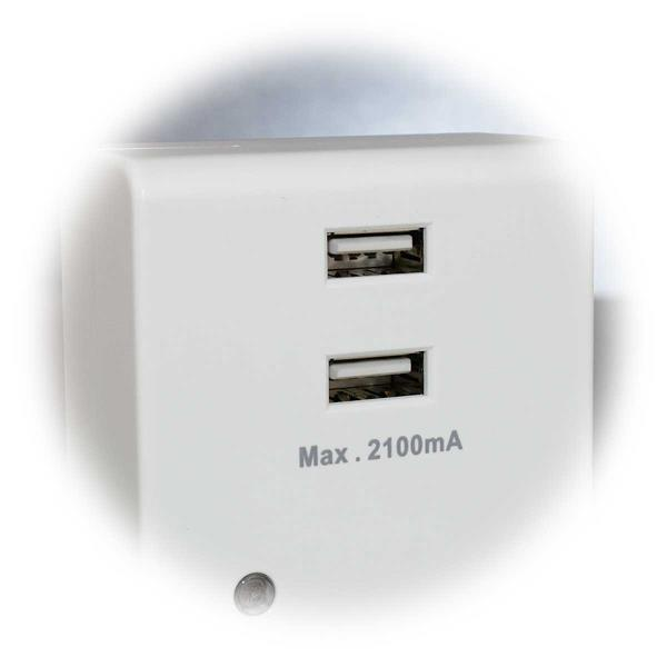 kleines unauffälliges Licht mit 2x USB Steckdose