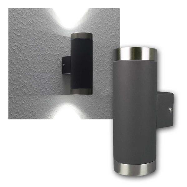 LED Wandleuchte 2x250lm daylig anthrazit/Edelstahl