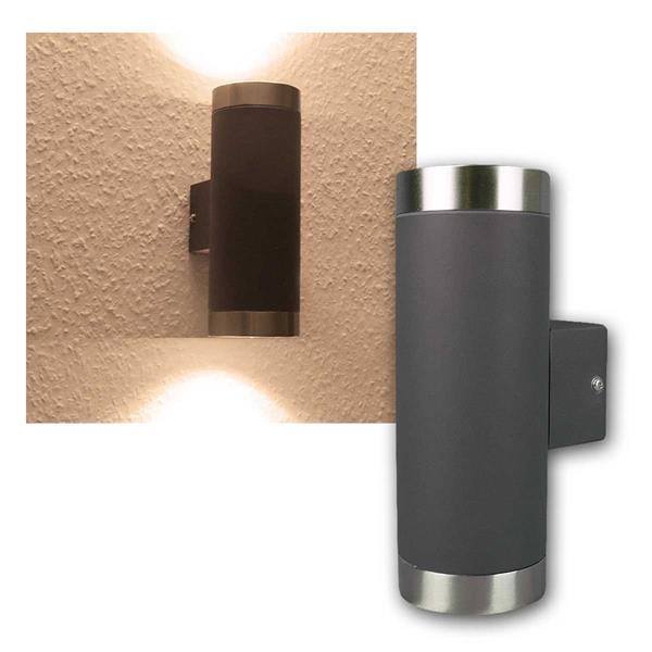 led wandleuchte 2x400lm warm anthrazit edelstahl. Black Bedroom Furniture Sets. Home Design Ideas
