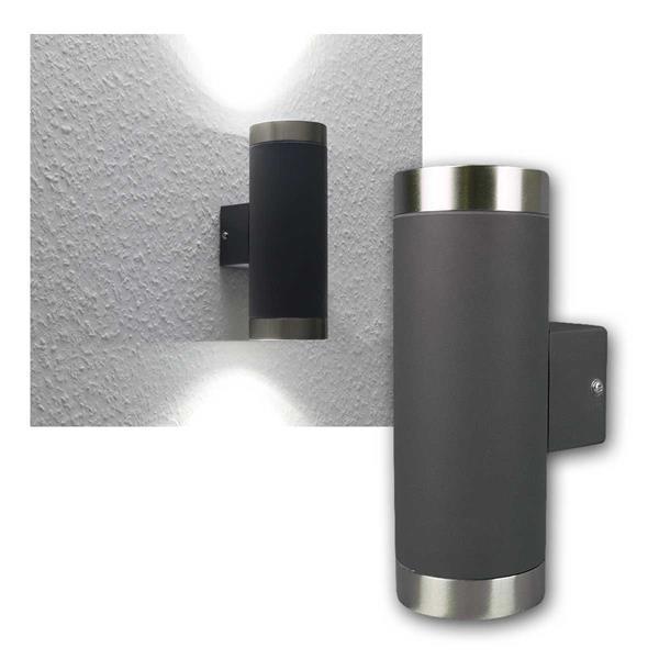 LED Wandleuchte 2x420lm daylig anthrazit/Edelstahl