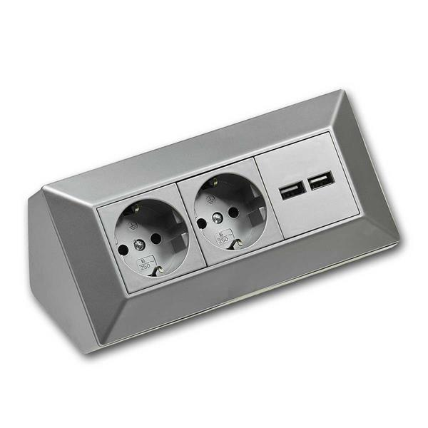 2-fach Steckdosenblock + 2x USB, silber 250V~/ 16A