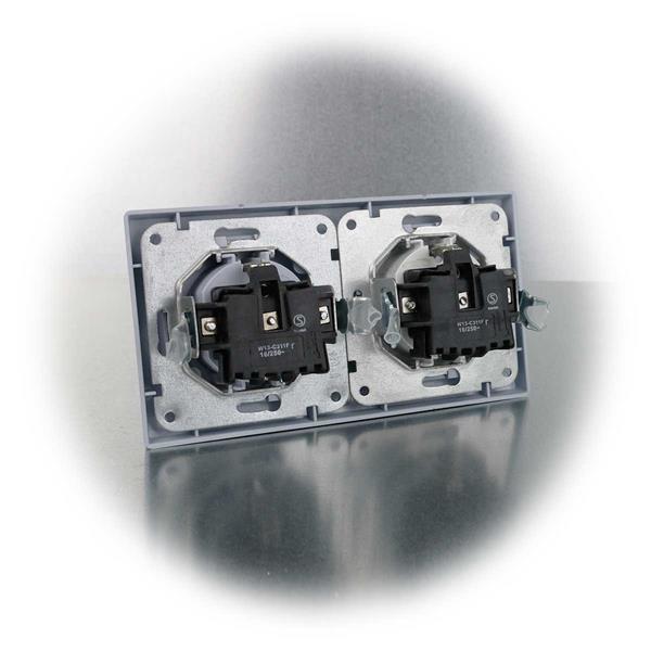 Steckdosen komplett mit Schaltereinsatz und Doppelrahmen