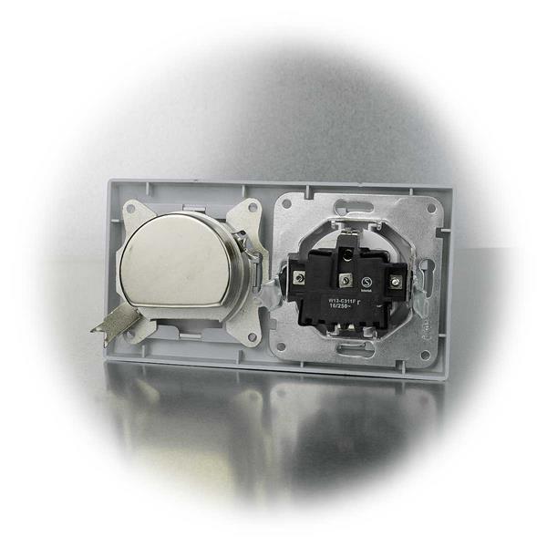 Steckdose und Antennendose komplett mit Schaltereinsatz und Doppelrahmen