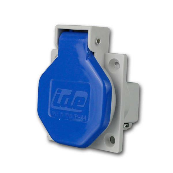 Einbausteckdose Schutzkontakt IP44, blau, 250V/16A