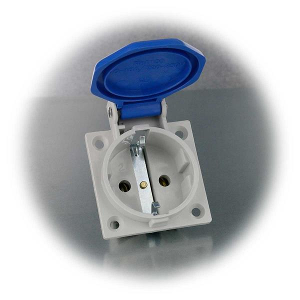 Steckdose für Einbau mit selbstschließenden Klappdeckel