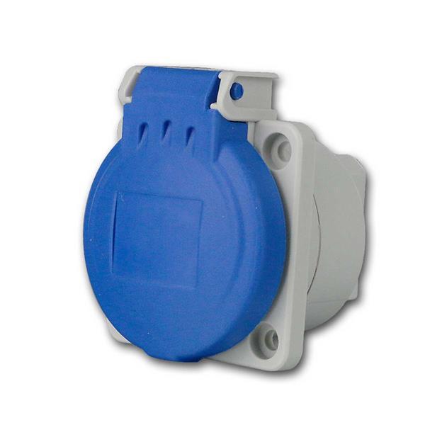Einbausteckdose Schutzkontakt IP54, blau, 250V/16A
