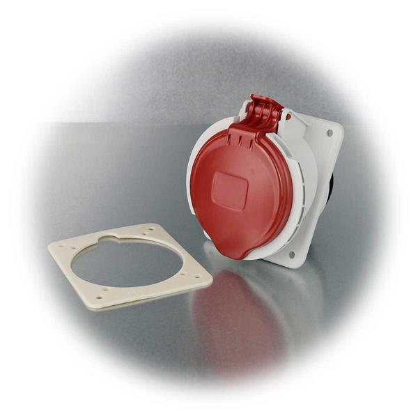 CEE-Steckdose mit Schlagfestigkeit IK08 und Klappdeckel