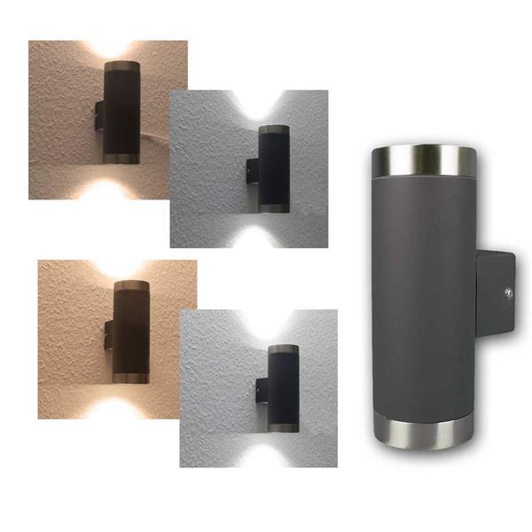 LED Wandleuchte warm/kalt anthrazit/Edelstahl