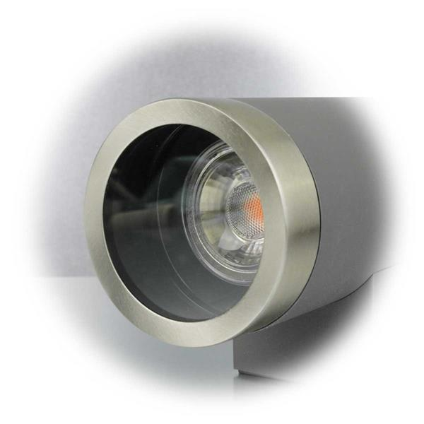 IP44 LED Wandleuchte in anthrazit/Edelstahl mit 6 oder 10W