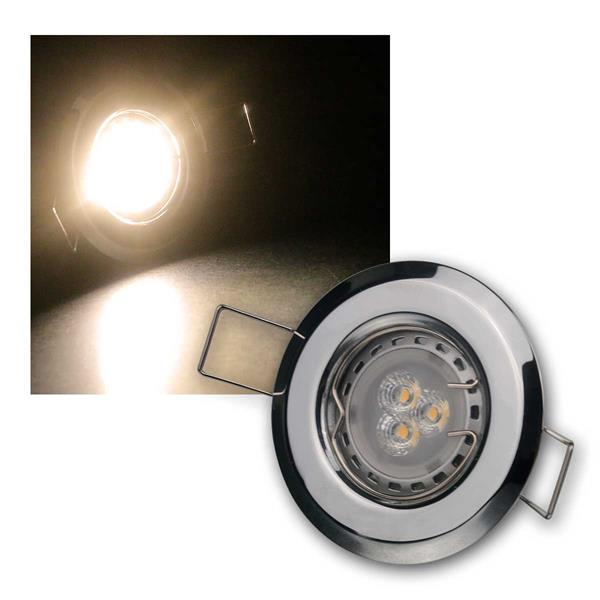 5er Set 3W ww LED Power Einbauleuchten Chrom starr