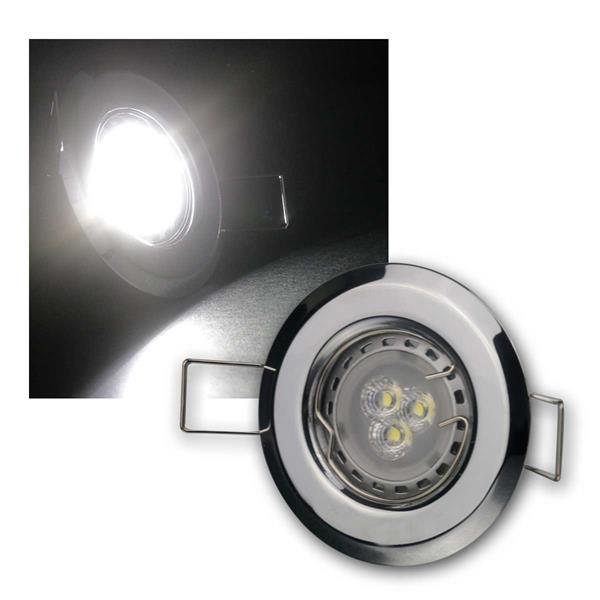 3er Set 3W kw LED Power Einbauleuchten Chrom starr