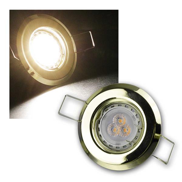 5er Set 3W ww LED Power Einbauleuchten Messing sta