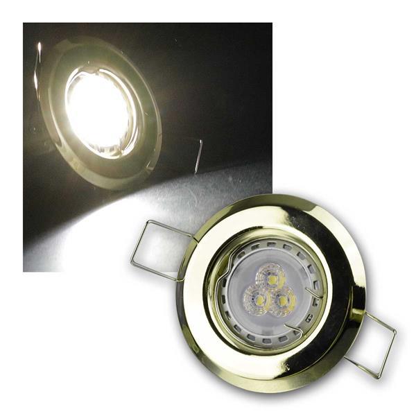 5er Set 3W kw LED Power Einbauleuchten Messing sta